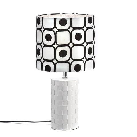 "19"" Geometric Black White Shapes Shade Table Lamp Modern Graphic Style Home Deco"