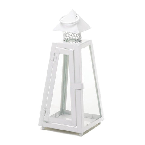 "11.5"" White Iron Lighthouse Candle Lantern Ocean Beach Sea Nautical Home Decor"