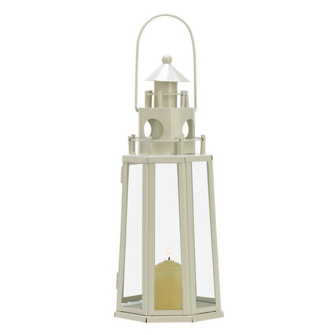 "13"" White Iron Lighthouse Candle Lantern Ocean Beach Sea Nautical Home Decor"