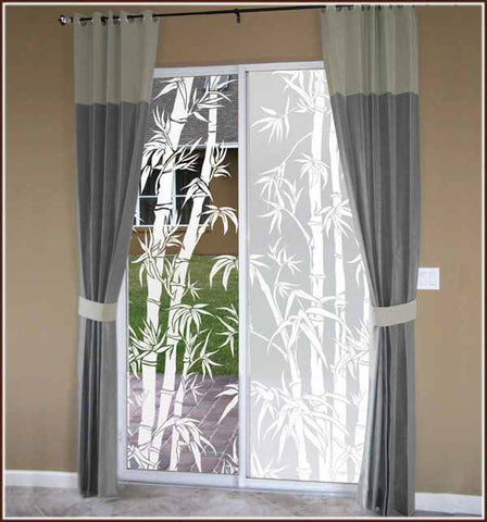 Bamboo Print Clear or Frosted Adhesive-Free Window Film Cling Asian Orient Decor