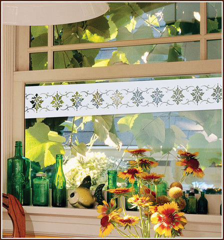 2 White Fleur de Lis Frosted Border Etched Glass Window Film Adhesive-Free