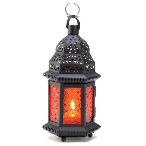 "10.2"" Amber Brown Metal Hanging Candle Holder Lantern Moroccan Style Decor"