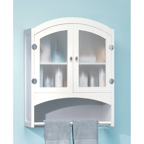 White Frosted Glass Hanging Bathroom Wall Medicine Cabinet Towel Rack