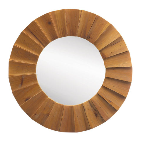 "18"" Modern Rustic Round Wood Wall Mirror Western Country Decor"