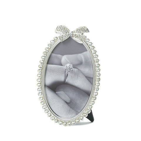 4x6 Oval Rhinestone Bow Picture Holder Photo Frame Wedding Gift