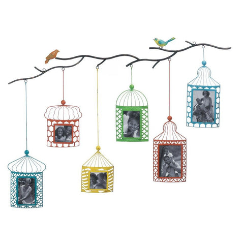 "46"" Red Green Blue Bird Branch Wall Picture Frame Collage Photo Holder"