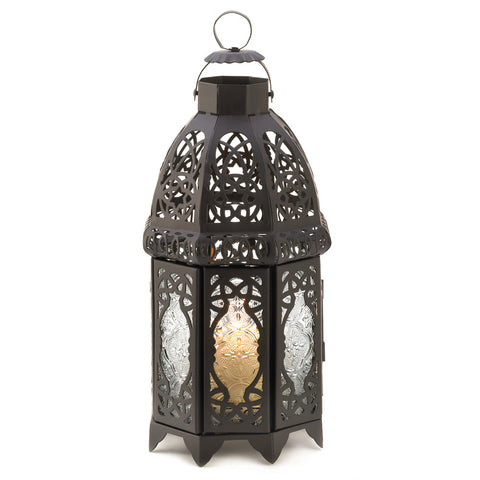 "12"" Black Lace Metal Hanging Candle Holder Lantern Moroccan Style Decor"