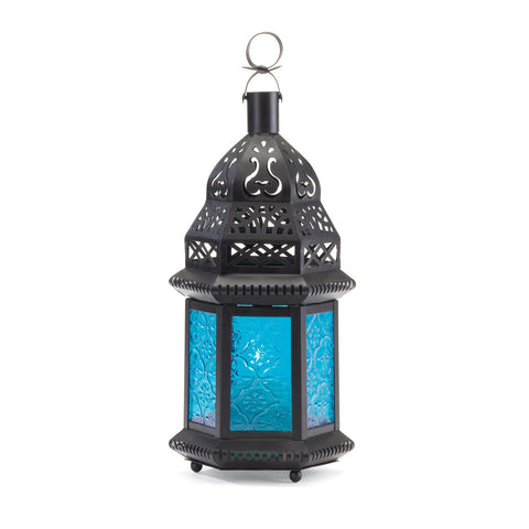 "10.2"" Blue Brown Metal Hanging Candle Holder Lantern Moroccan Style Decor"