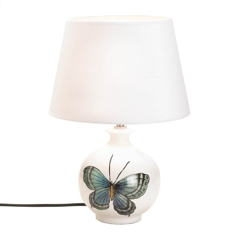 "18"" White Ceramic Green Blue Butterfly Accent Table Lamp Country Home Decor"