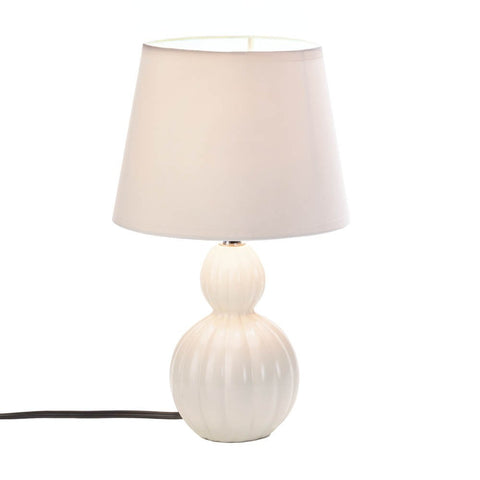 "13.2"" Small Ivory Ceramic Accent Table Lamp Country Home Decor"