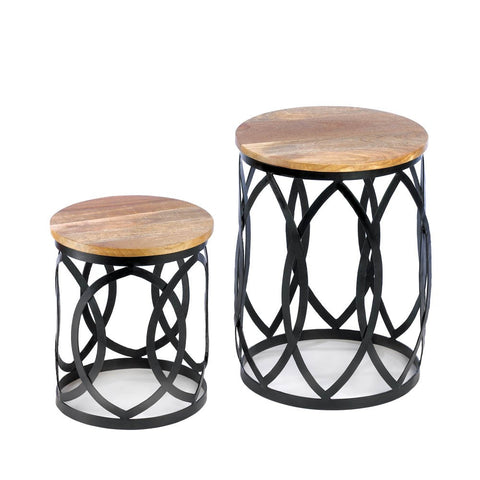 2 Black Brown Moroccan Style Boho Accent Side End Table Night Stand