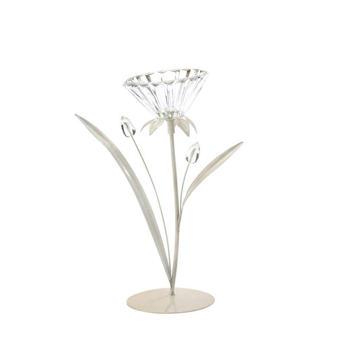 "10.2"" Off White Flower Standing Candle Holder Couuntry Cottage Chic Decor"