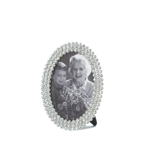 3.5x5 Sparkling Rhinestone Oval Standing Picture Holder Photo Frame