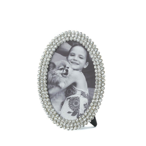 4x6 3 Row Oval Rhinestone Standing Picture Holder Photo Frame
