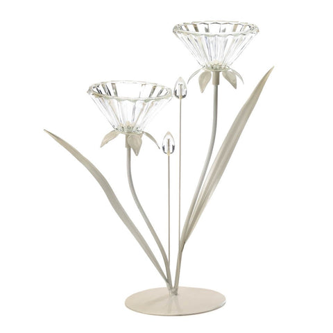 "12.5"" Off White 2 Flower Standing Candle Holder Country Cottage Chic Decor"