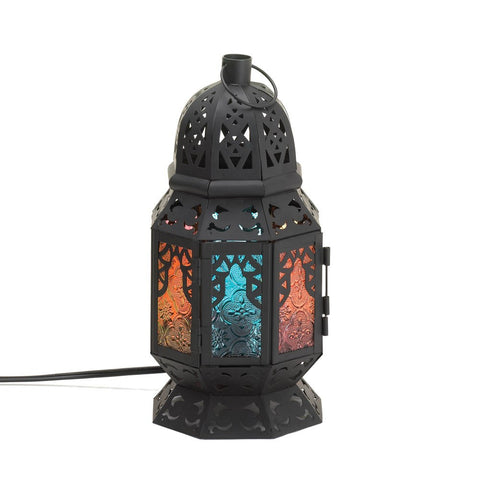 "10.5"" Black Blue Red Moroccan Metal Lace Style Accent Table Lamp Lantern Decor"