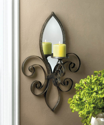 "22"" Antiqued Iron Fleur-de-Lis Wall Mirror Candle Holder Sconce French Style Dec"