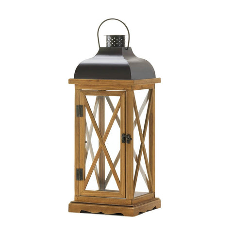 "22.5"" Rustic Brown Wood Metal Hanging Candle Holder Lantern Western Decor"