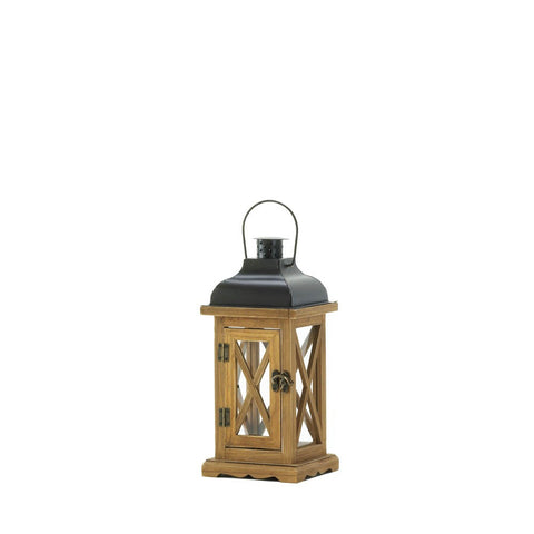"14"" Rustic Brown Wood Metal Hanging Candle Holder Lantern Western Decor"