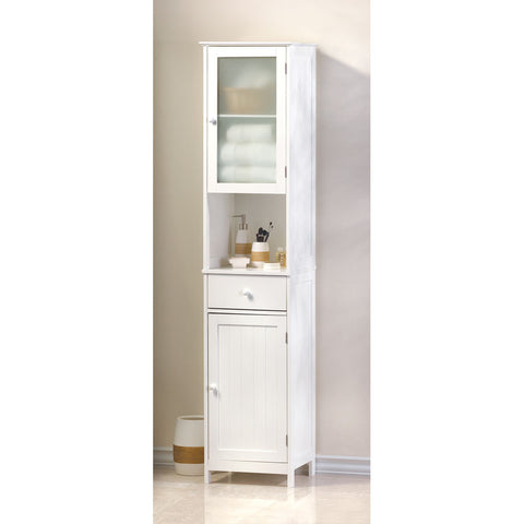 "70.9"" Tall White Bathroom Linen Closet Cabinet Storage"