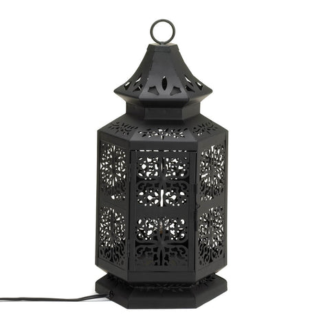 "16"" Black Moroccan Metal Lace Style Accent Table Lamp Lantern Decor"