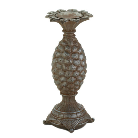 "12.2"" Antiqued Pineapple Candle Stick Holder African Jungle Safari Decor"