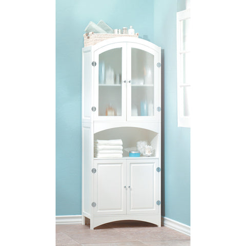 "63"" Tall White Bathroom Linen Closet Cabinet Storage"