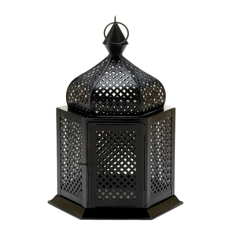 "12.5"" Black Indian Style Starlight Hanging Candle Holder Lantern"