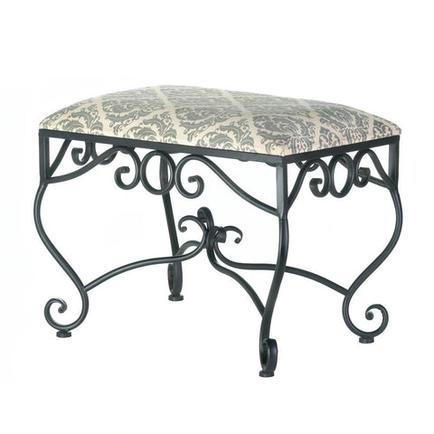 Gray Damask Fleur-de-Lis Black Iron Scrollwork Stool Seat French Country Decor