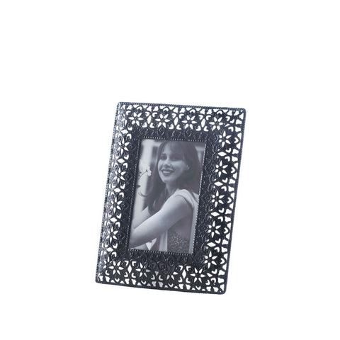 4x6 Black Moroccan Lace Metal Standing Picture Holder Photo Frame