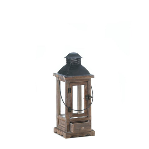 "15.9"" Brown Pine Wood Rustic Hanging Candle Holder Lantern Western Decor"