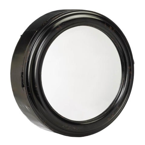 "24"" Distressed Black Iron Porthole Wall Mirror Medicine Cabinet Nautical Ocean"