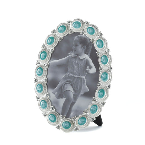 4x6 Turquoise Silver Pewter Oval Standing Picture Holder Photo Frame