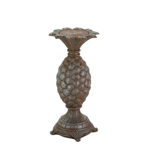 "10.5"" Antiqued Pineapple Candle Stick Holder African Jungle Safari Decor"