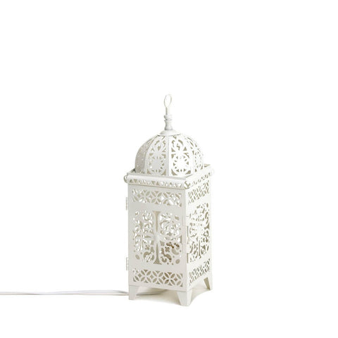 "11.5"" White Moroccan Metal Lace Style Accent Table Lamp Lantern Decor"