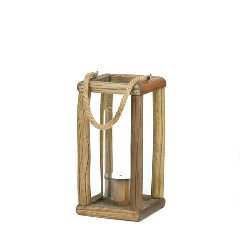 "12.4"" Rustic Natural Wood Candle Holder Lantern Western Country Decor"