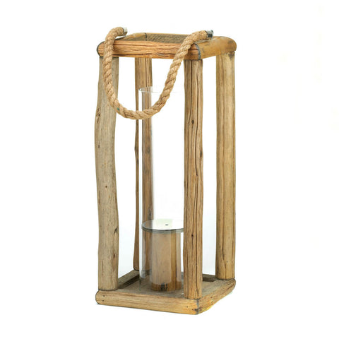 "17"" Rustic Natural Wood Candle Holder Lantern Western Country Decor"