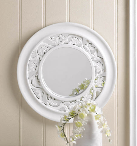 "12.5"" Round Ivy Leaf White Wood Wall Mirror Country Cottage Chic Home Decor"