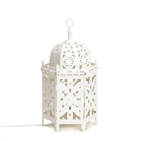 "14.2"" White Moroccan Metal Lace Style Accent Table Lamp Lantern Decor"