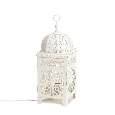 "14.5"" White Moroccan Metal Lace Style Accent Table Lamp Lantern Decor"