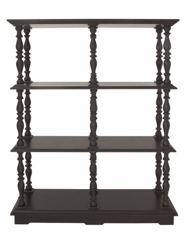 49x68 Large Black 4 Shelf Wood Bookcase Traditional Vintage-Look Decor