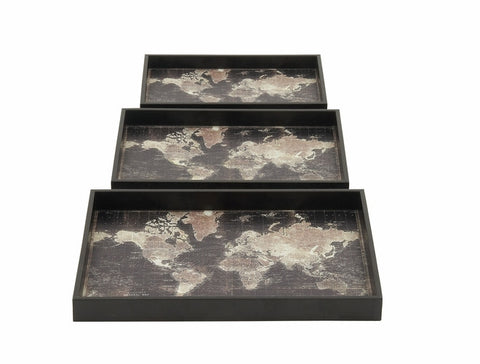 3 Antiqued Black Wood Old World Map Decorative Serving Tray