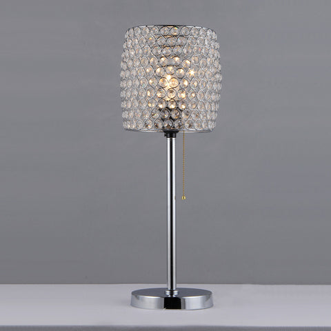 "20"" Contemporary Purple Silver Crystal Bead Table Lamp Modern Decor"