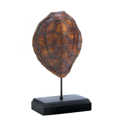 "13"" Faux Sea Turtle Shell on Stand Ocean Beach Nautical Home Decor"