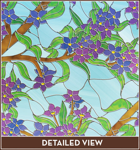 Blue Purple Flower Floral Stained Glass Adhesive-Free Window Film Privacy Cling