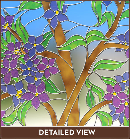 Blue Purple Flower Clear Stained Glass Adhesive-Free Window Film Cling
