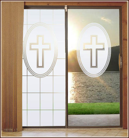 Christian Cross White Adhesive-Free Stained Glass Window Film Cling Religious