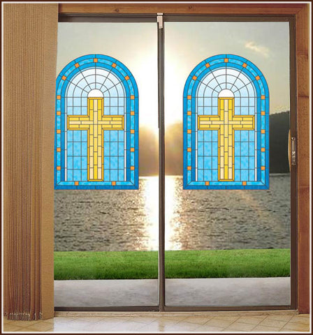 Blue Gold Christian Cross Stained Glass Window Film Adhesive-Free Cling