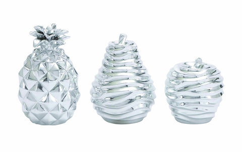 3 Silver Polystone Pear Pineapple Apple Sculpture Figurine Kitchen Decor