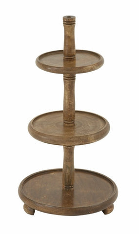 3 Tier Simple Primitive Wood Decorative Serving Tray Rustic Home Decor